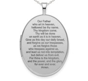 Sterling Silver Lord s Prayer Oval Photo Locket