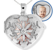 Sterling Silver Heart Photo Locket with Cubic Zirconias