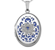 Sterling Silver Blue Lotus Oval Photo Locket