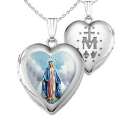Sterling Silver Miraculous Heart Photo Locket