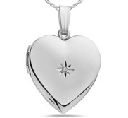 Sterling Silver Diamond Heart Photo Locket