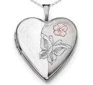 Sterling Silver Enameled Butterfly Heart Photo Locket