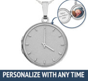 Sterling Silver Personalized Clock with Time Round Photo Locket