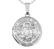 Sterling Silver St  Francis Round Photo Locket