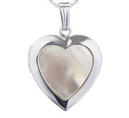 Sterling Silver Mother Of Pearl Heart Photo Locket