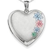 Sterling Silver Enameled Flower Heart Photo Locket