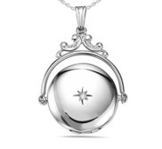 Sterling Silver Round Swivel Photo Locket