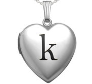 Sterling Silver Black Enameled Initial Heart Photo Locket