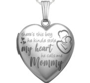 Sterling Silver   He Calls Me Mommy   Heart Photo Locket