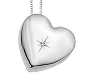 Sterling Silver Sideways Cubic Zirconia Heart Photo Locket