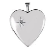 Sterling Silver Heart Photo Locket with Cubic Zirconia