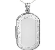 Sterling Silver Floral Border Dog Tag Photo Locket