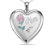 Sterling Silver Mom with Enamel Flower Heart Photo Locket