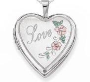 Sterling Silver Love with Pink and Green Enamel Heart Photo Locket