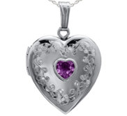 Sterling Silver Floral Border with Birthstone Heart Photo Locket
