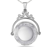 Sterling Silver Swivel   Spinner Round Photo Locket