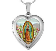 Sterling Silver Our Lady Of Guadalupe Heart Photo Locket
