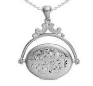 Sterling Silver Swivel   Spinner Oval Photo Locket