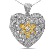 Sterling Silver Heart Two Tone   CZ Locket