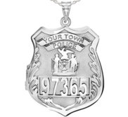 Sterling Silver Personalized Police Badge Photo Locket