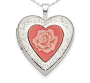 Sterling Silver Rose Cameo Heart Photo Locket