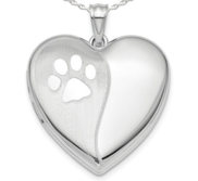 Sterling Silver Polish and Satin Paw Print Heart Photo Locket