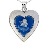 Sterling Silver Blue Angel Cameo Heart Photo Locket