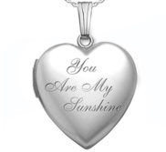 Sterling Silver  You Are My Sunshine  Heart Photo Locket