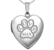 Sterling Silver Personalized Paw Print Heart Photo Locket