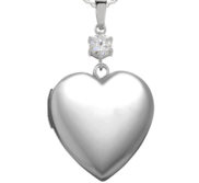 Sterling Silver  Sweetheart  Cubic Zirconia Accent Heart Photo Locket