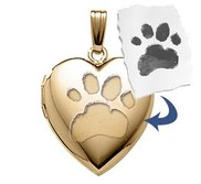 Gold Filled Paw Print Heart Locket