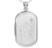 Sterling Silver Saint Christopher Dog Tag Photo Locket