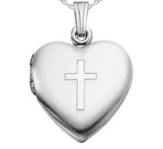 Sterling Silver Cross Heart Photo Locket