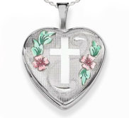Sterling Silver Enameled Cross   Flowers Heart Photo Locket