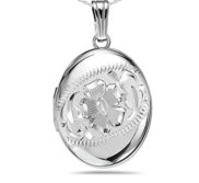 Sterling Silver Hand Engraved Oval Photo Locket