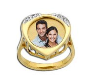 Gold Heart Photo Ring With Diamonds
