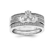 Sterling Silver Ladies Polished Rhodium plated Pav Trio Set Rings