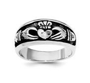 Unisex Sterling Silver and Rhodium Antiqued Claddagh Ring