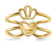 14K Ladies Crown and Heart Double Shank Ring