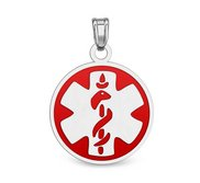 Sterling Silver Medical ID Round Charm or Pendant with Red Enamel