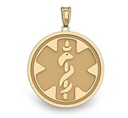 14k Gold Filled Medical ID Round Charm or Pendant