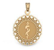 14k Yellow Gold Medical ID Round Charm or Pendant