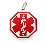 14K White Gold Medical ID Octagon Charm or Pendant with Red Enamel