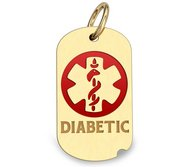 14k Yellow Gold Diabetic Dog Tag Charm or Pendant with Red Enamel
