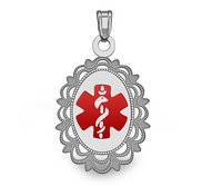 14k White Gold Medical ID Oval Charm or Pendant with Red Enamel