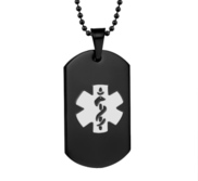 Black Plated Stainless Steel Medical ID Dog Tag Pendant w  Chain