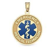 14K Yellow Gold EMT w  Blue Enamel Medical ID Charm or Pendant