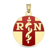 14k Yellow Gold RN Charm or Pendant with Red Enamel