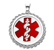 14k White Gold Medical ID Round Rope Frame Charm or Pendant with Red Enamel