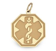 14k Yellow Gold Medical ID Octagon Charm or Pendant